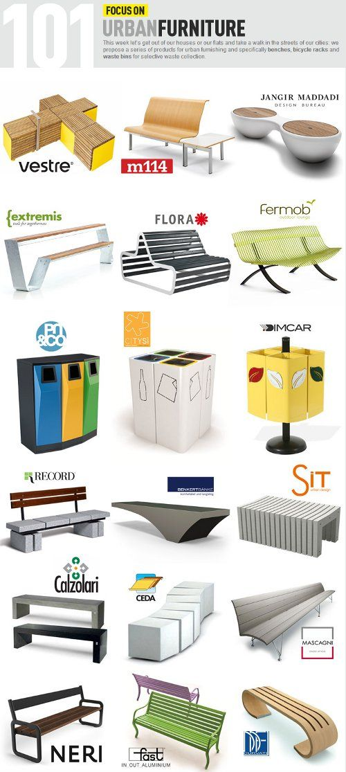 Archiproducts, Focus on Urban Furniture: benches, bicycle racks and waste bins w…