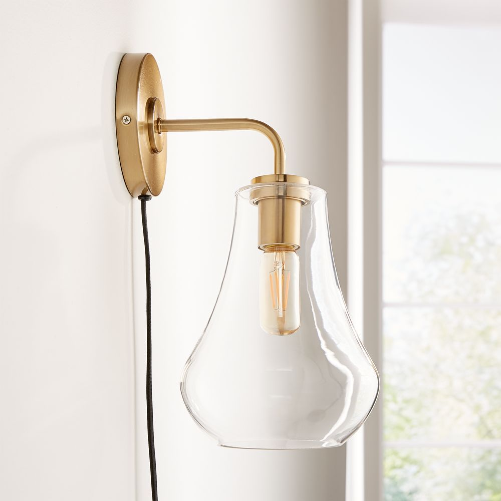 Arren Brass Wall Sconce with Clear Teardrop Shade + Reviews | Crate and Barrel
