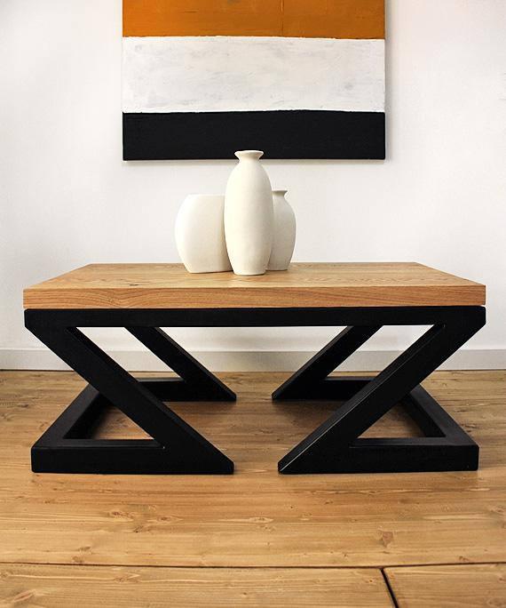 Artículos similares a Mesa de centro moderna, doble Z de Soxoni, muebles de madera, mesa de centro industrial, madera, envejecido roble, mesa de centro, transformador en Etsy