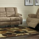 Ashley Furniture 98604-88-86 2 pc Tullen mocha fabric sofa and love seat set with recliner ends