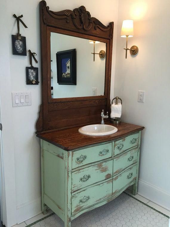 BATHROOM VANITY From Antique Dresser! We Find, Restore, Convert, Paint and Distress – One Of A Kind! Country Furniture