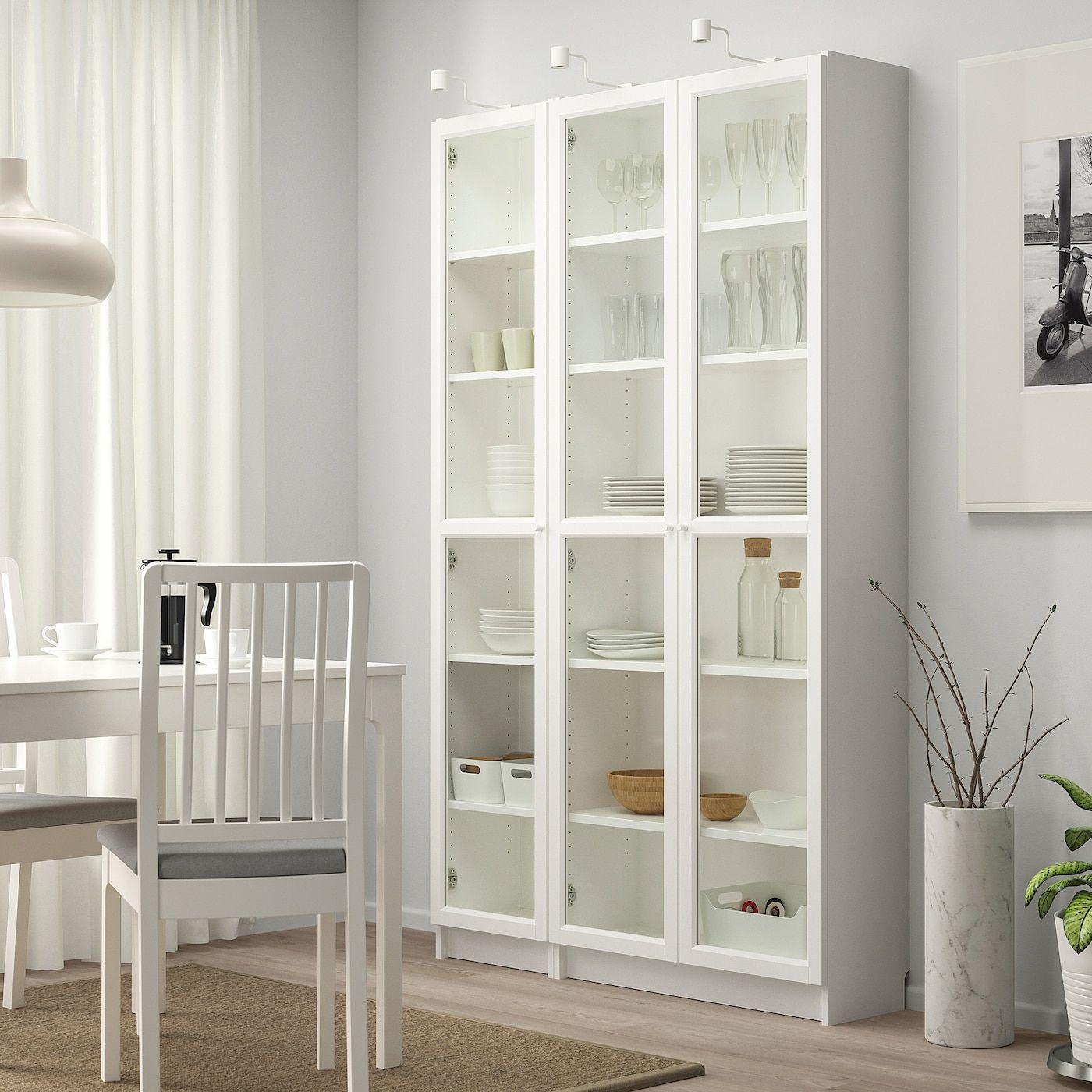 BILLY / OXBERG Bookcase with glass doors – white – IKEA