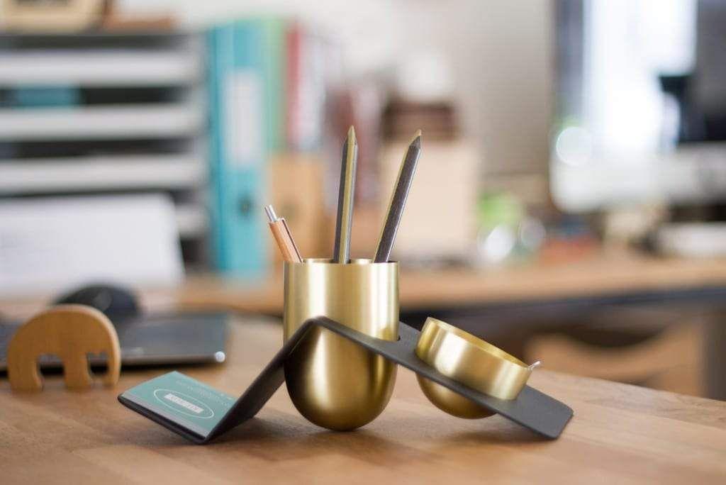 BLANK – Brass Tidy Desk Organizer – Kit-Box Design