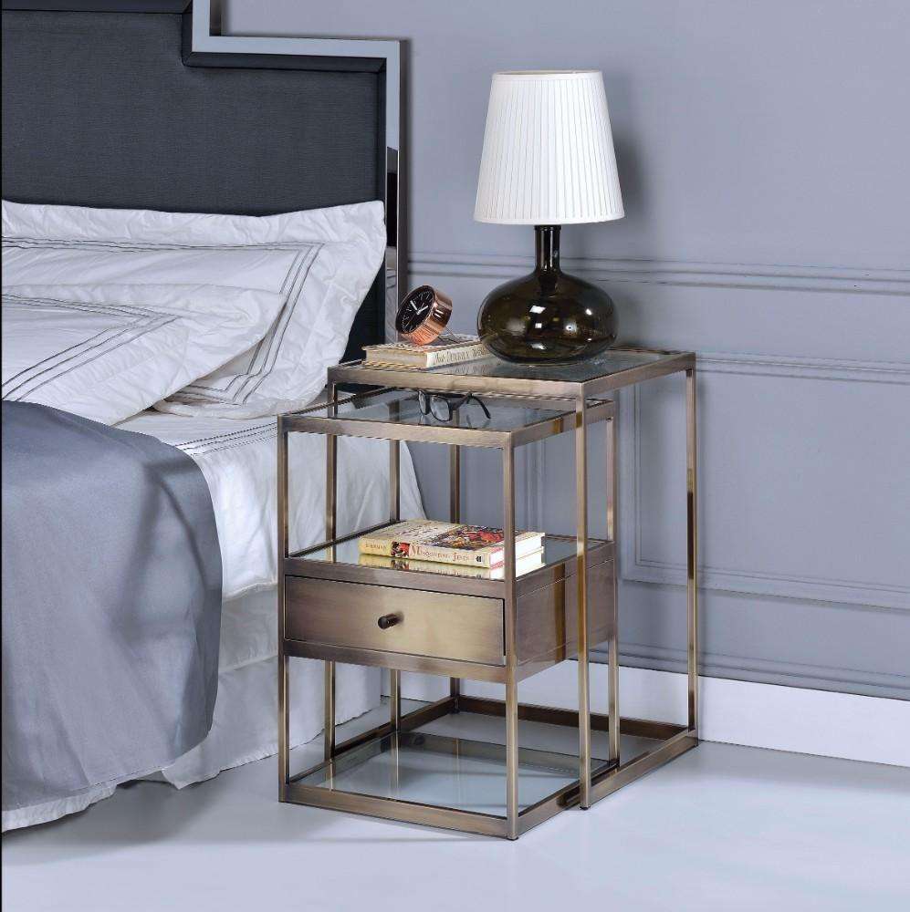BM157311 Stylish Nesting Tables Set, Clear Glass & Brass, 2 Piece Pack