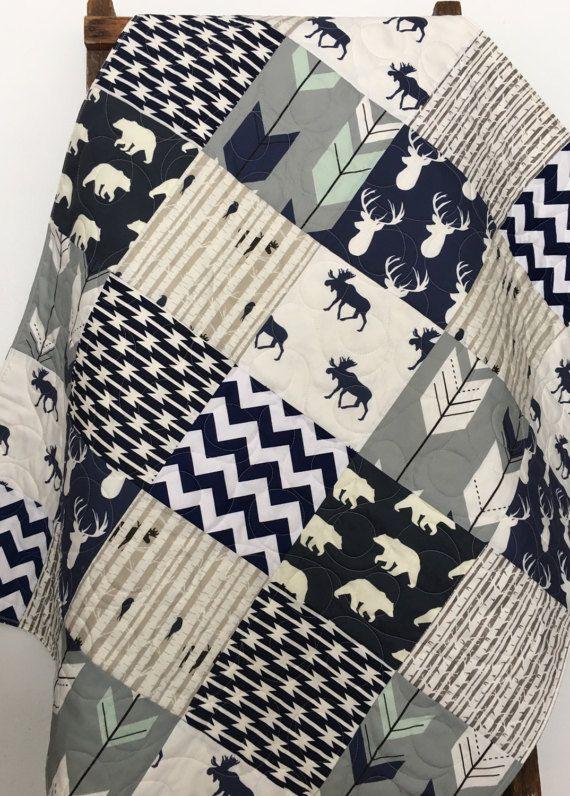 Baby Boy Quilt, Navy Blue Crib Bedding, Gray Crib Bedding, Woodland Nursery Quilt, Woodland Bedding Boy, Throw Quilt Blanket, Moose Ridge