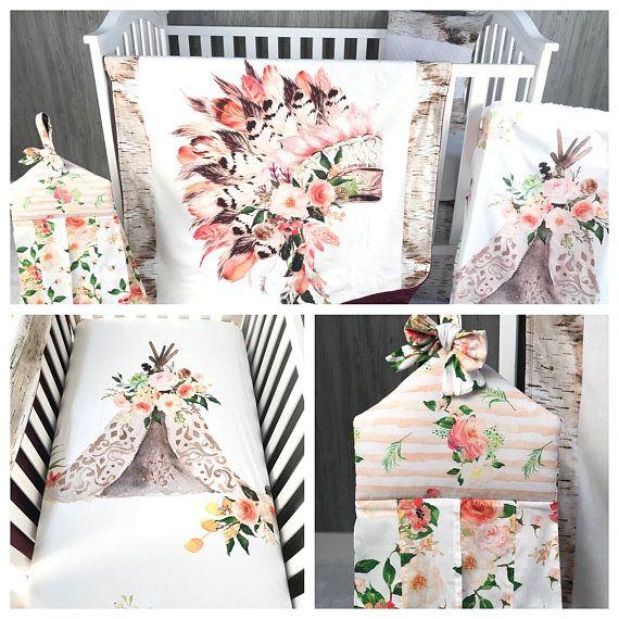 Baby  Nursery Bedding Set , Baby , Aztec, Headdress , Boho , Teepee, Princess ,Indian, Tee Pee  , Minky , Baby Bedding , Babylooms Crib