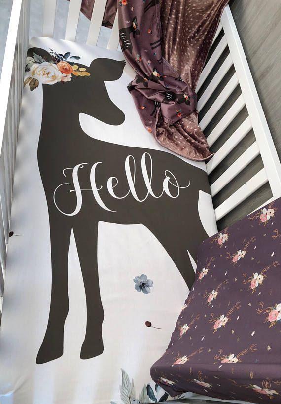 Baby  Nursery Bedding Set , Baby , Woodland , Doe , Floral , Deer , Fawn , Minky , Baby Bedding , Babylooms Crib Bedding