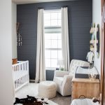 Baby boy nursery with modern farm house vibes. Gray accent wall really make the ...