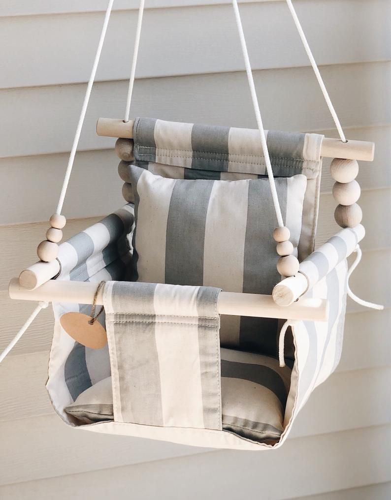 Baby gift, gray stripes, baby swing, fabric swing, toddler swing, indoor swing, porch swing, nursery decor, baby shower gift