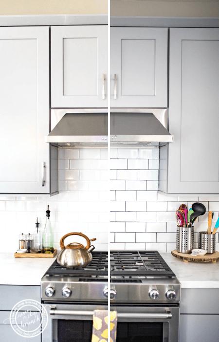 Backsplash Tile Refresh: How to Make White Tile Pop for under $20 » NEVER SKIP BRUNCH