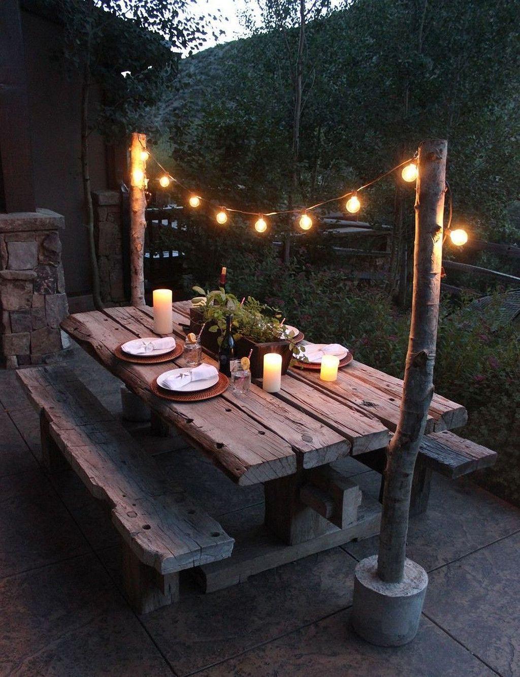 Backyard Picnic Table Dining Area