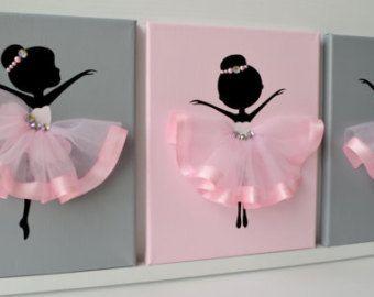 Ballerina nursery wall art in pink and white. Girls room decor.
