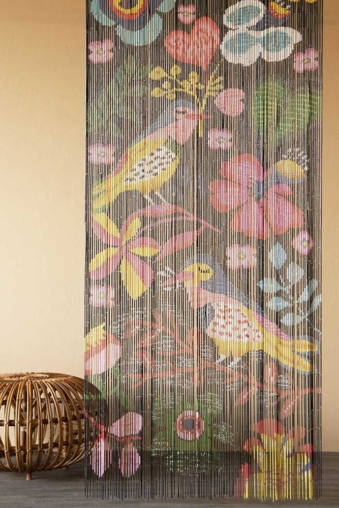 Bamboo Door Curtain – Birds & Flowers Design