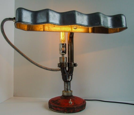 Banker's Style Rocker Cover Desk Lamp – Creative Design – Upcycled Lighting – Industrial – Automotive – Home Decor – Gift Ideas