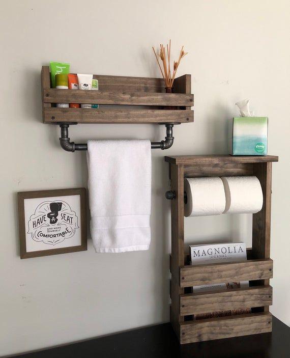 Bathroom Set Industrial Modern Farm House, towel bar magazine holder and double toilet paper, Industrial Rustic Barn House Pipe towel bar