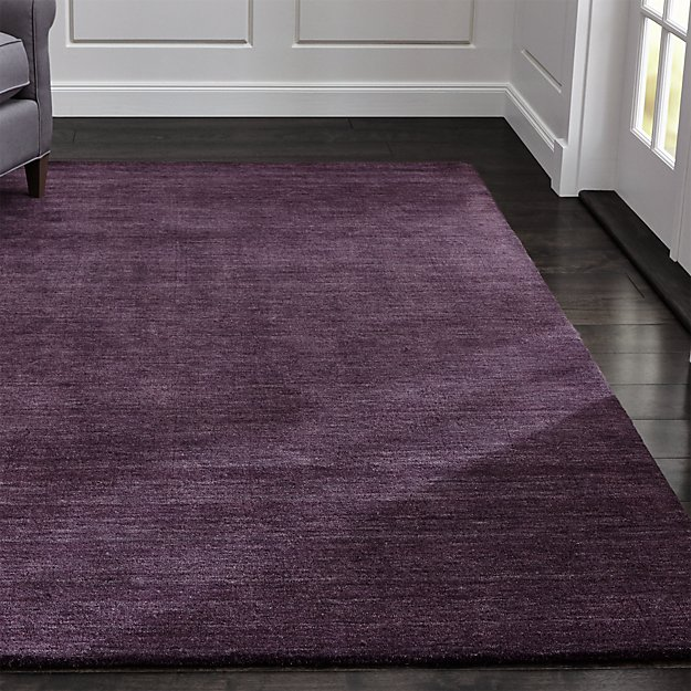 Baxter Plum Purple Wool Rug 9'x12′ + Reviews | Crate and Barrel
