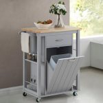 Baxton Studio Yonkers Gray Kitchen Cart with Wood Top 28862-6121-HD - The Home Depot