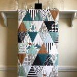 Bear Mountain Triangles Baby Quilt Handmade, Woodland Baby Nursery Bedding Teal Copper, Boy Baby Blanket, Bear & Cub Baby Bedding