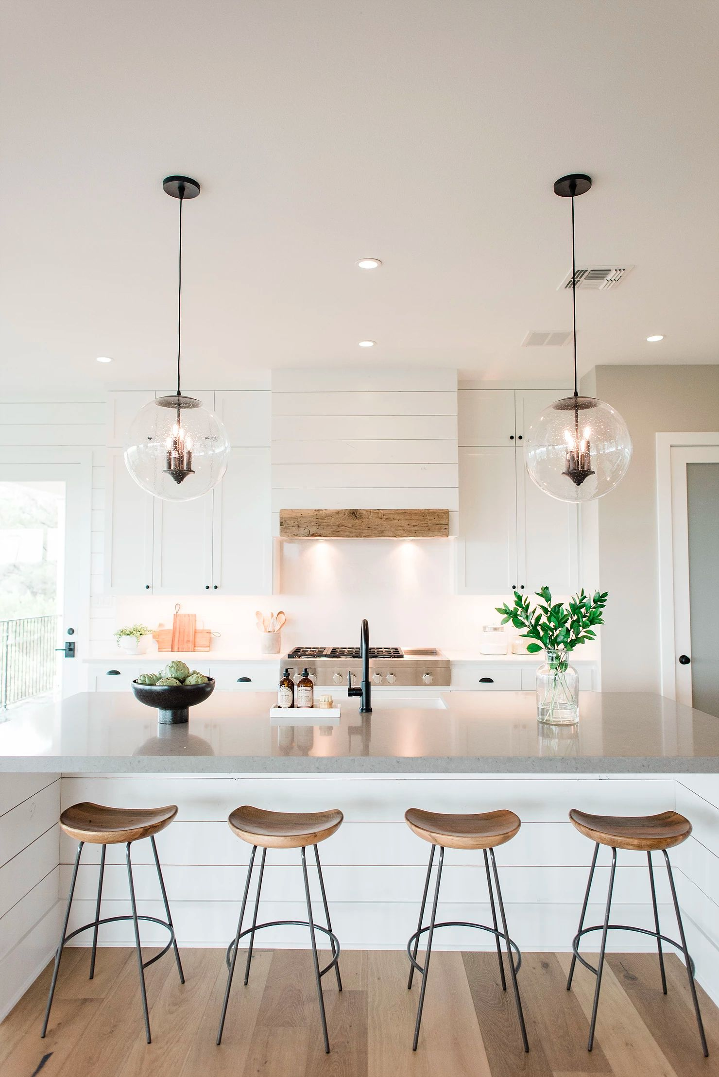 Beautiful kitchen design with white cabinets and glass dome pendant lights #whit…