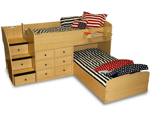 Beds for boys' room– like that it isn't as high as a bunk and the L-shape is go…