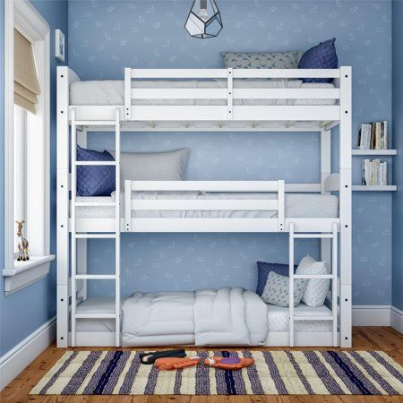 Better Homes & Gardens Tristan Triple Bunk Bed, White – Walmart.com