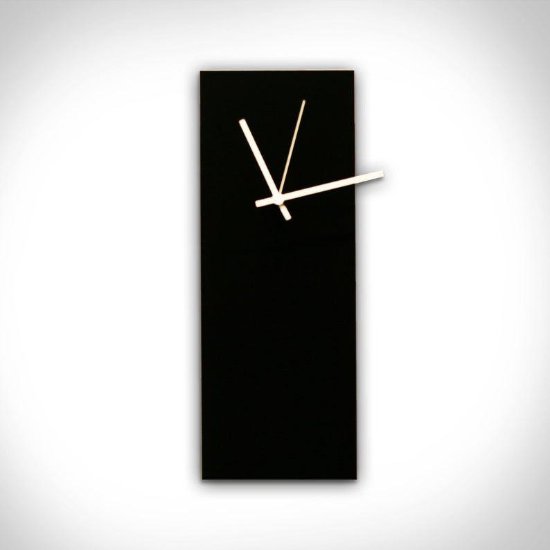 Black Clock 'Blackout Orange Clock' – 6x16in.-Unique Wall Clocks-Made in USA, Retro Wall Clock