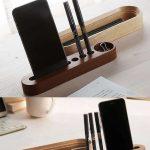 Black Walnut Wooden Makeup Brush Holder Cosmetic Organizer Pen Pencil Holder Off...