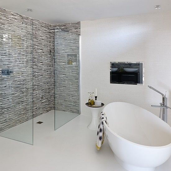 Black and white bathroom with modern fittings and fixtures | Ideal Home