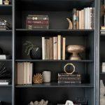 Black bookcase styling