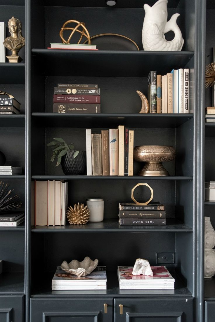 Black bookcase styling