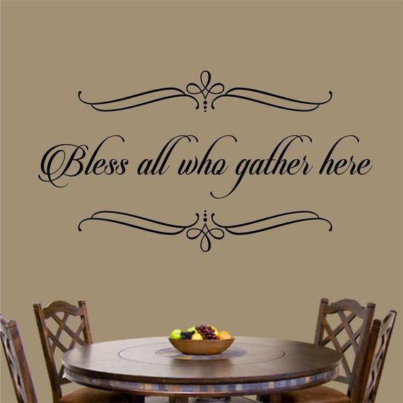 Bless All Who Gather Here, Christian Decal, Religious Wall Quote, Vinyl Wall Lettering, Vinyl Wall Decals, Vinyl Letters, Home Decoration