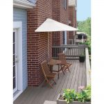Blue Star Group Bistro Terrace Mates Premium 5-Piece Patio Bistro Set with 9 ft. Chocolate Olefin Half-Umbrella-TMBP-9OC - The Home Depot