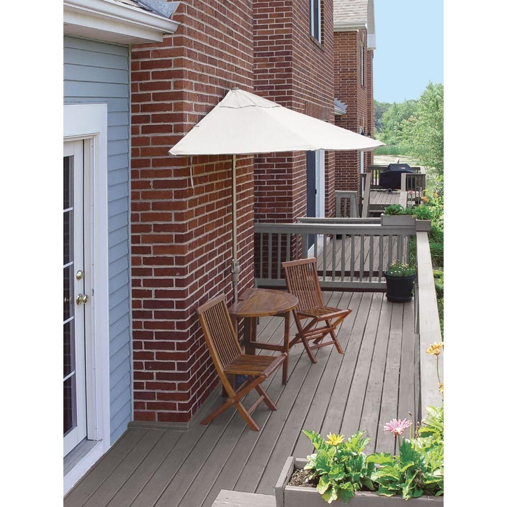 Blue Star Group Bistro Terrace Mates Premium 5-Piece Patio Bistro Set with 9 ft. Chocolate Olefin Half-Umbrella-TMBP-9OC – The Home Depot
