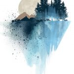 Blue mountain wall art, art prints, watercolor, poster, nature print, landscape print, home wall decor, forest art, mountain print, wall art