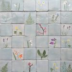 Botanical handmade ceramic tiles flowers, ferns, herbs, hand cut tiles, grey celadon colour MADE TO ORDER