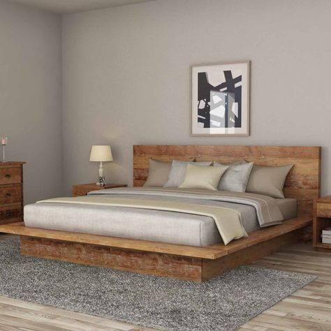 Britain Rustic Teak Wood Full Size Platform Bed Frame
