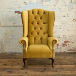 British Handmade Mustard Gold Velvet Chesterfield Highback Wing Chair