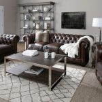 Brown Leather Tufted Sofa & Chair | Nailhead Trim Leather Couch
