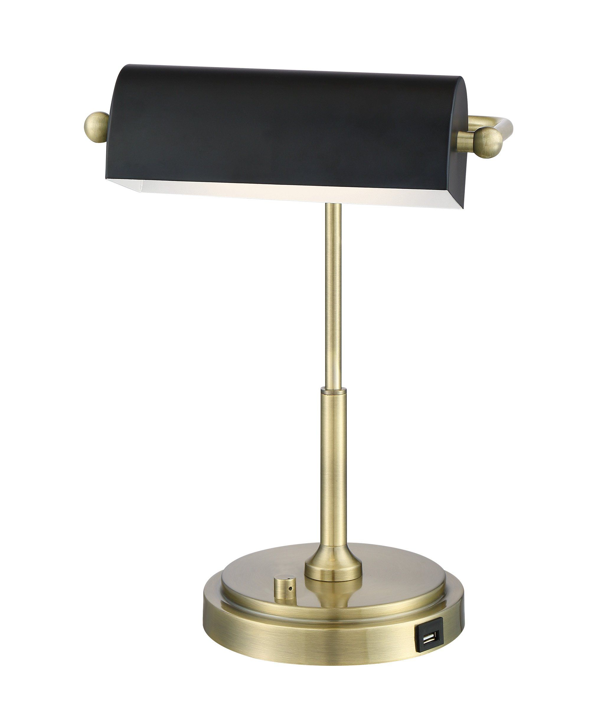 Brushed Gold Banker Desk Lamp with Black Shade – Caileb