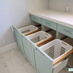 Built In Laundry Bins, Transitional, laundry room, Benjamin Moore Wythe Blue, Su...