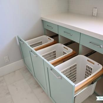 Built In Laundry Bins, Transitional, laundry room, Benjamin Moore Wythe Blue, Su…