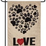 Burlap Paw Prints Heart Decorative Garden Flag