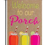 Burlap Welcome to Our Porch Double Applique Garden Flag