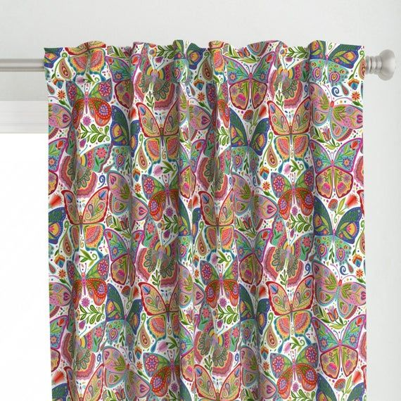 Butterflies Curtain Panel – The Girl With The Butterfly Tattoos by groovity – Folk Art  Insect Bug Tatto Custom Curtain Panel by Spoonflower