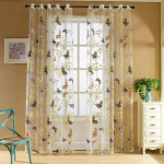 Butterfly Curtain Panel Roman Window Valance Home Kitchen Curtains String Fabric For Yarn Rustic Curtain Yarn