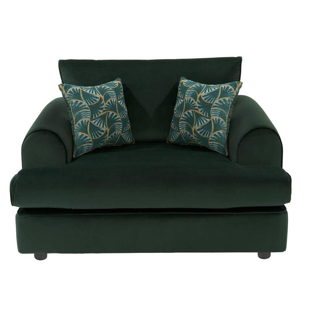 Buy Argos Home Atticus Velvet Cuddle Chair – Green | Armchairs and chairs | Argos