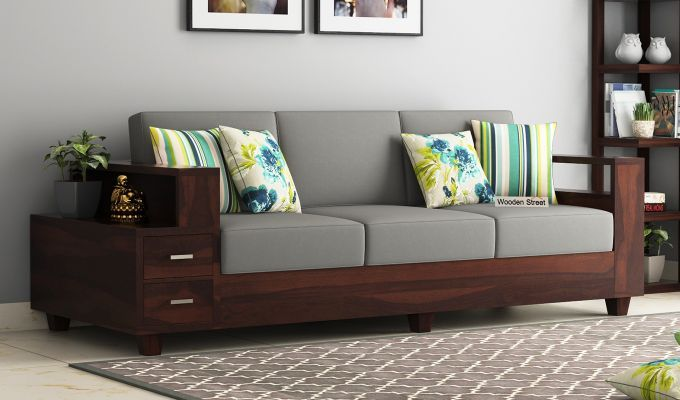 Buy Solace Wooden Sofa 3+1+1 Set (Walnut Finish) Online in India – Wooden Street