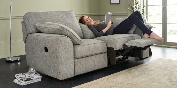 Buy Stamford Recliner Recliner medium sofa (3 seats) Boucle Weave Dark Grey Large Square Angle