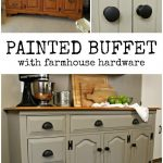 CHALK PAINTED BUFFET WITH FARMHOUSE HARDWARE Furniture Makeovers Mad in Crafts
