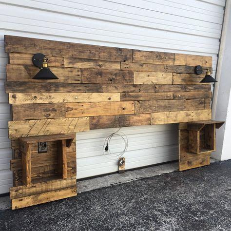 Cabecera de madera rústica, afligida, cabecera, recuperación, gabinetes, tomas de corriente USB, luces, Barnwood, cabecera moderna